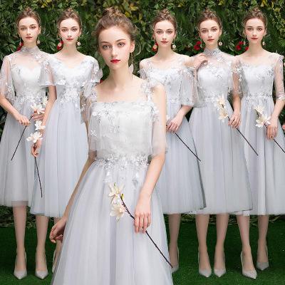中长款仙气花朵刺绣显瘦伴娘服