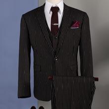 男士条纹免烫结婚西服套装