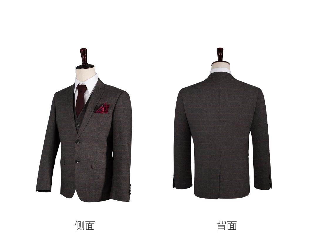 男士韩式格纹结婚西服套装