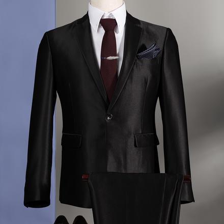 【送衬衫领结领带】男士时尚亮面结婚西服套装
