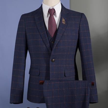 男士经典格纹西服套装