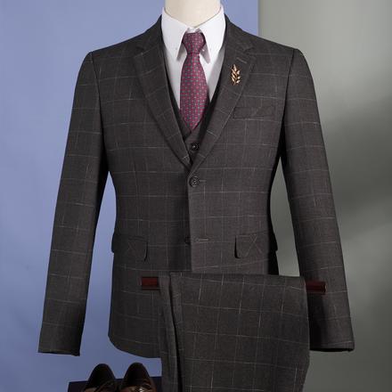 男士格纹修身混纺西服套装