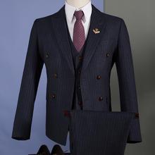 男士英伦双排扣西服套装