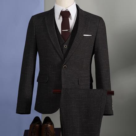 【送衬衫领结领带】男士乱格西服混纺套装