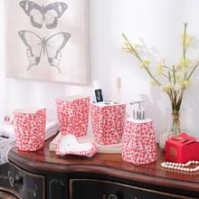中式喜庆剪纸艺术五件套洗漱陶瓷套装