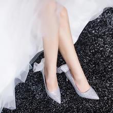 公主范满钻丝带水晶高跟新娘婚纱婚鞋