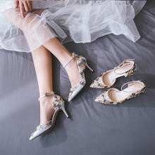 甜美金色花朵刺绣绑带新娘高跟婚鞋
