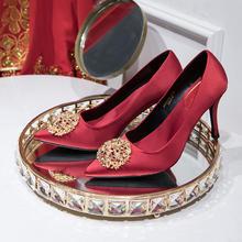 金钻圆珠饰缎面奢华高跟秀禾服婚鞋