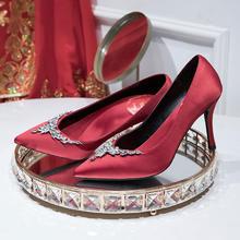 小v鞋口秀气叶片水钻缎面高跟婚鞋