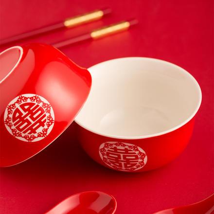 【一对礼盒装】新婚双喜对碗筷勺套装