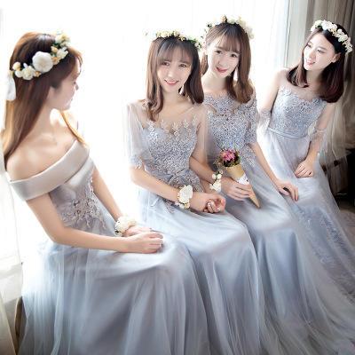 灰色显瘦刺绣长款姐妹裙伴娘礼服