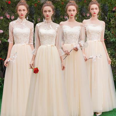 香槟色仙气显瘦遮手臂姐妹裙伴娘服