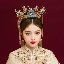 2019新款新娘中式蓝色大气整圈圆冠长款流苏结婚头饰