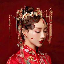 2019新款大气红色流苏复古中式新娘结婚头饰