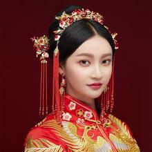 2019新款中式新娘结婚金底红色流苏复古头饰套装