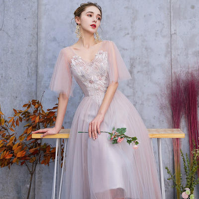 仙女风气质中长款显瘦灰粉色伴娘服