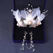 2019新款仙气新娘皇冠耳环两件套