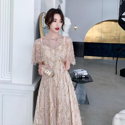 超仙网纱亮片香槟色显瘦伴娘服
