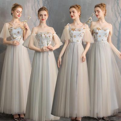 香槟灰星星梦幻仙气显瘦姐妹团伴娘服