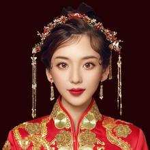 2019新款中式新娘红色流苏凤冠结婚头饰套装