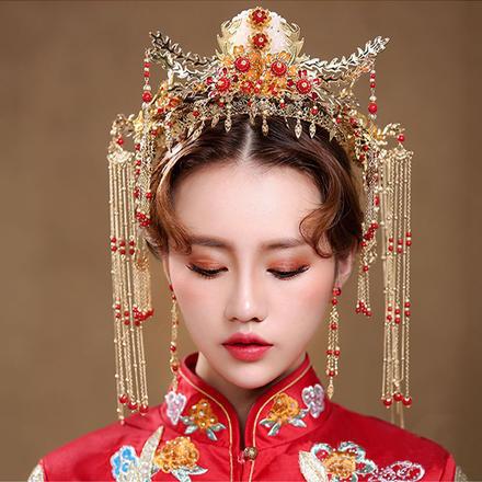 中式新娘红色凤冠耳环两件套