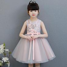 2019新款儿童刺绣纯色无袖可爱舒适蕾丝公主裙