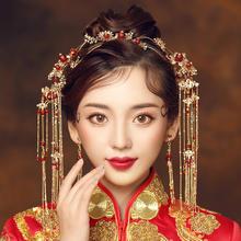 2019新款中式新娘结婚龙凤褂配饰套装