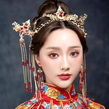 2019新款花朵凤冠头饰流苏发簪套装