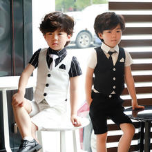 【送领带】2019新款夏季马甲三件套童装礼服