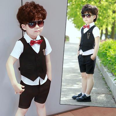 【送领结】2019新款夏季黑色马甲三件套男童礼服