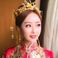 2019新款中式流苏凤冠霞帔步摇秀禾服结婚配饰