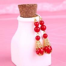 新娘中式红色复古步摇耳饰