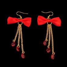 新款新娘红色复古步摇耳环