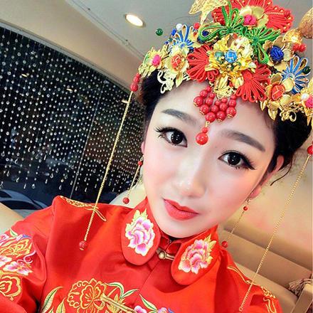2019新款中式新娘结婚头饰凤冠中式礼服秀禾服头饰套装
