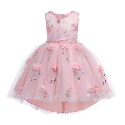 可爱蕾丝网纱拖尾甜美花童蓬蓬裙礼服