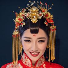 2019新款中式新娘凤冠玉石簪钗步摇婚礼配饰秀禾头饰套装