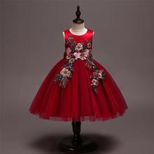 红色缎布拼接网纱花童公主裙礼服