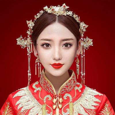 【蝶舞蹁跹】新款中式新娘套装头饰