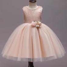 香槟色蝴蝶结可爱花童蓬蓬裙小礼服