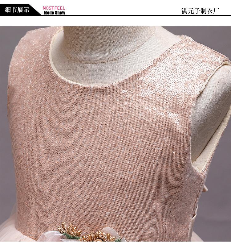 2019新款香槟色花童蓬蓬裙小礼服