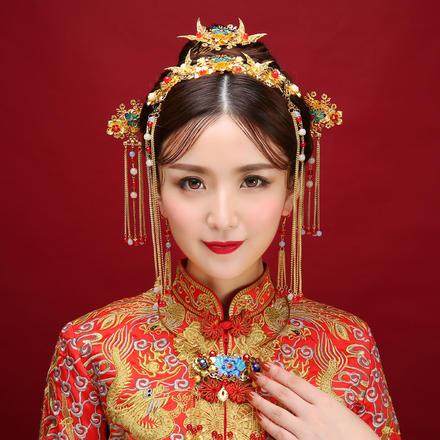 2019新款中式流苏凤冠中式新娘头饰