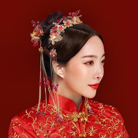 【金石为开】新款中式简约新娘头饰套装
