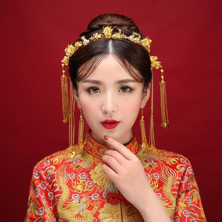 新款中式新娘流苏发簪发箍步摇套装