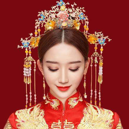 【国色天香】新款中式新娘头饰套装