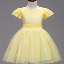 黄色飘飘袖可爱花童小礼服