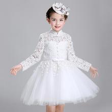 2019新款镂空小立领白色可爱花童公主裙
