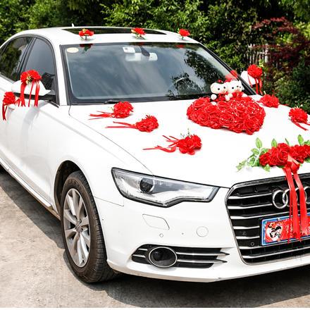 主婚车装饰车头花套装欧式婚车布置结婚用品