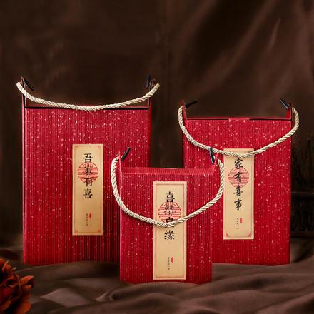 中国风彩瓦牛角手拎喜糖盒