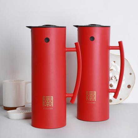 结婚陪嫁红色暖壶玻璃保温壶
