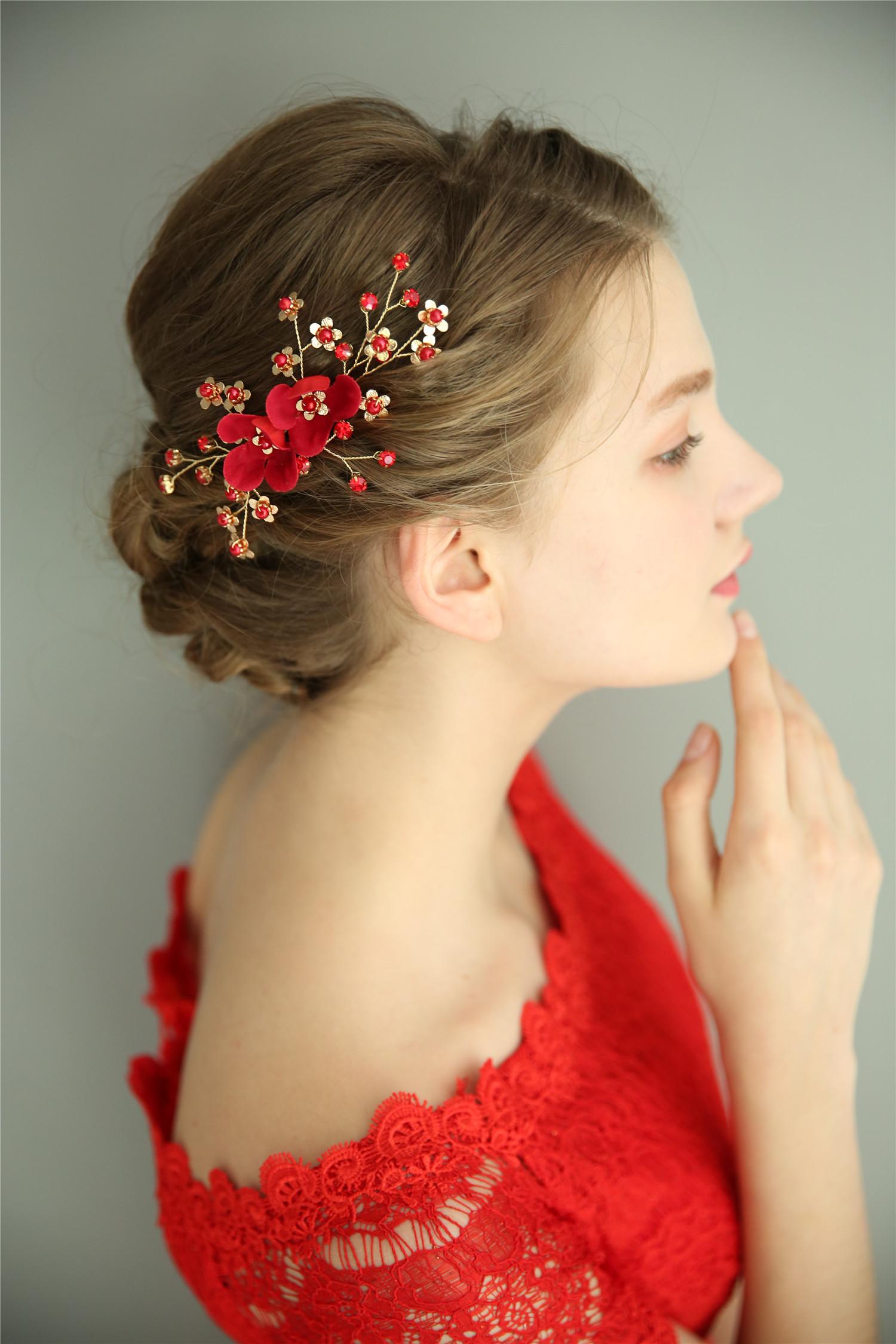 中式手工复古新娘敬酒服发夹头饰